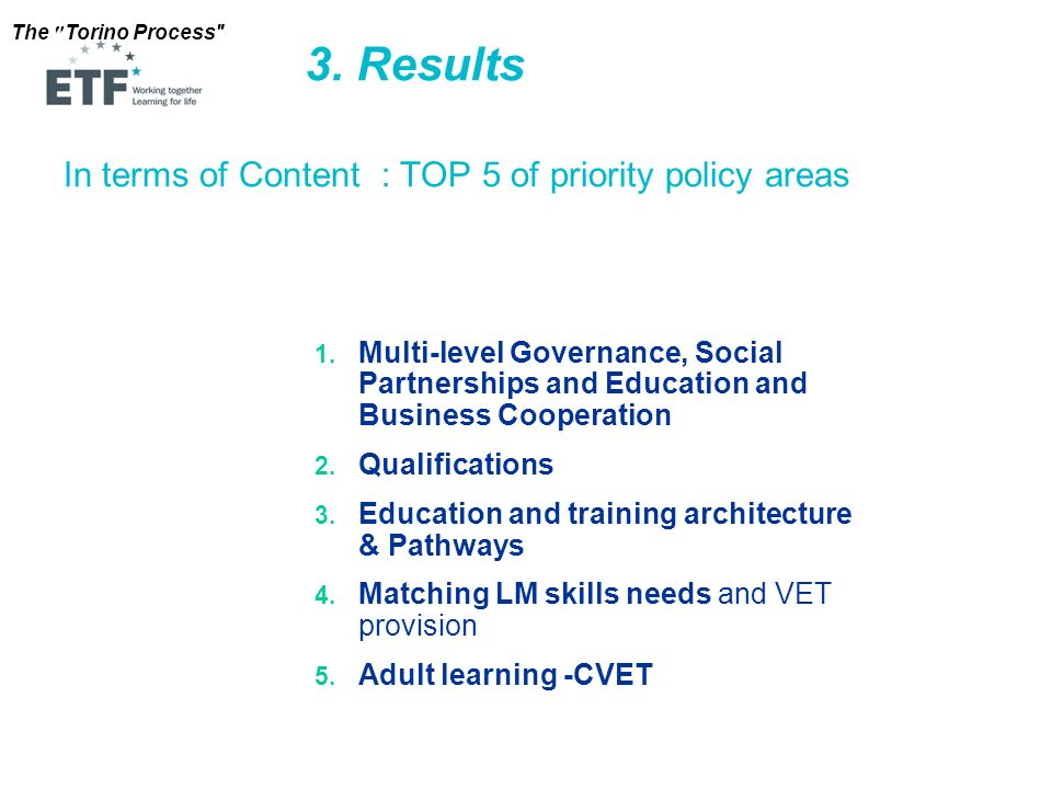 3. Results In terms of Content : TOP 5 of priority policy areas
