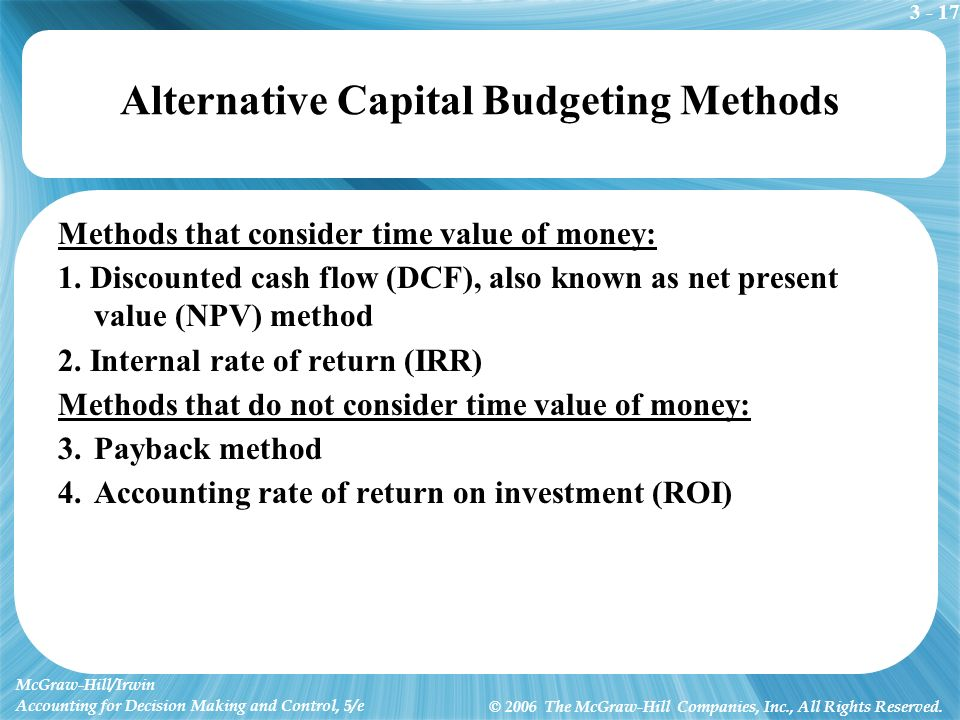 alternative valuation methods of the dcf model 2008-2-27  chapter 9: discounted cash flow  the discounted cash flow (dcf) valuation:  dividend model in chapter 14 we show an alternative calculation of the wacc which.