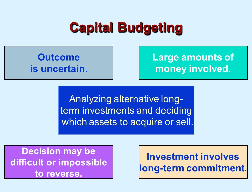 capital budgeting investment decision Another capital budgeting technique, the profitability index, is used when firms have only a limited supply of capital with which to invest in positive npv projects this type of problem is referred to as a capital rationing problem.
