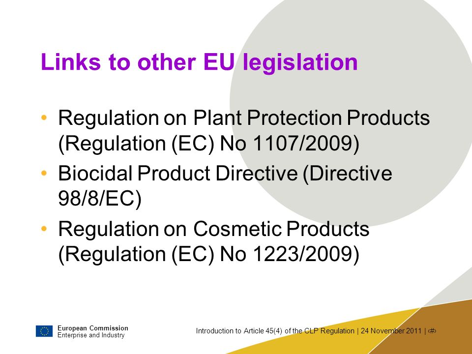 Links to other EU legislation