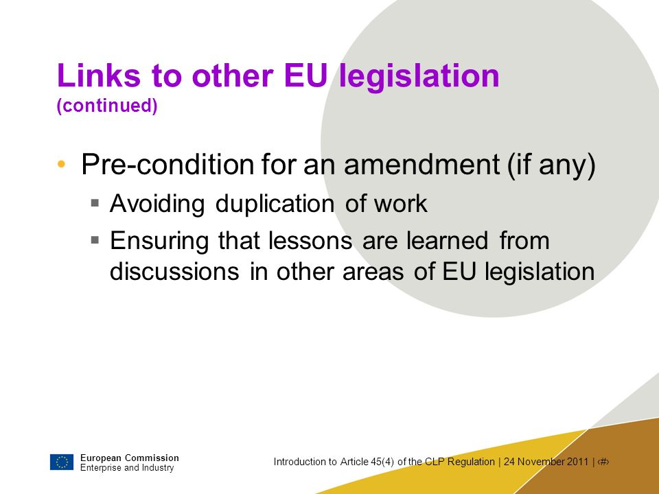 Links to other EU legislation (continued)