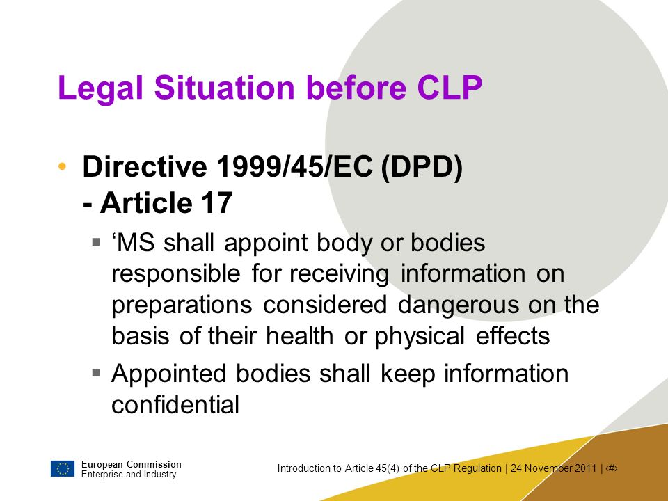 Legal Situation before CLP