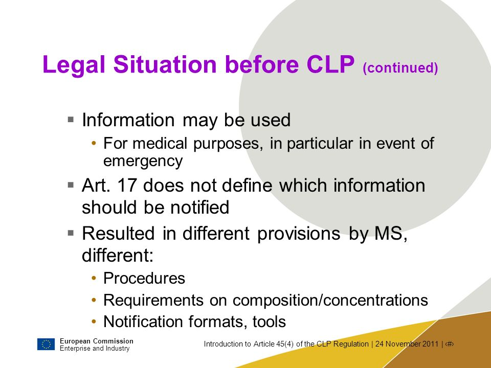 Legal Situation before CLP (continued)