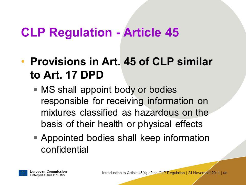 CLP Regulation - Article 45