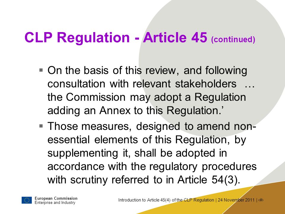 CLP Regulation - Article 45 (continued)