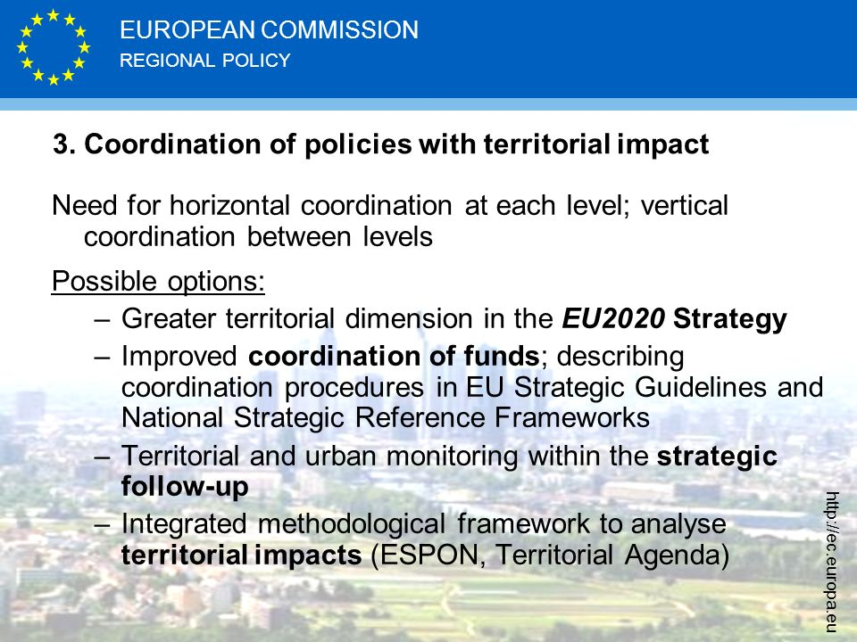 3. Coordination of policies with territorial impact