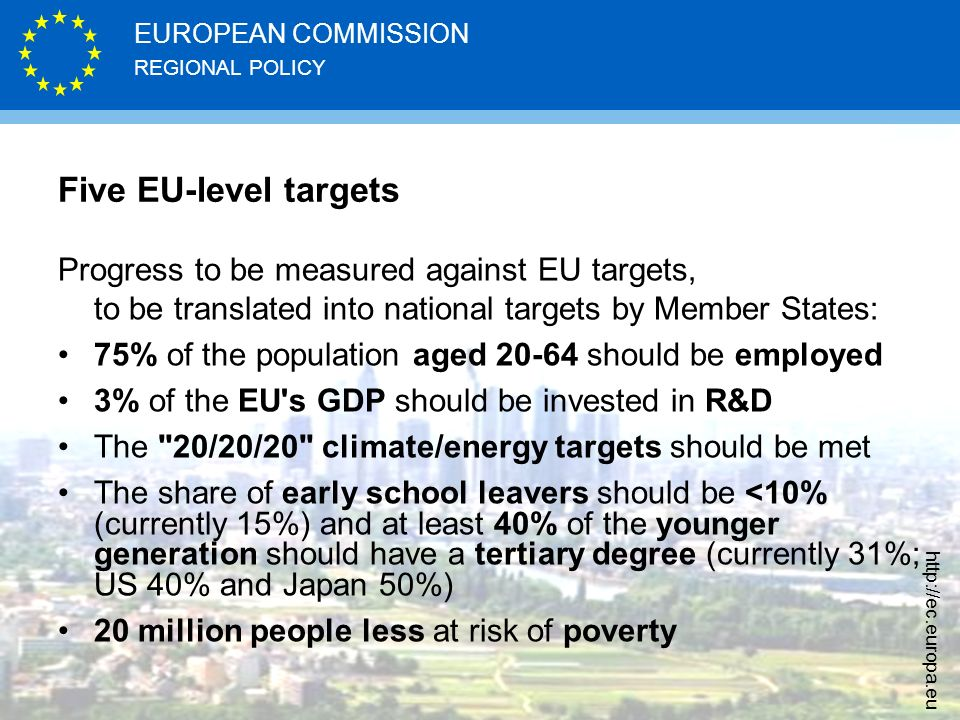 Five EU-level targets Progress to be measured against EU targets, to be translated into national targets by Member States: