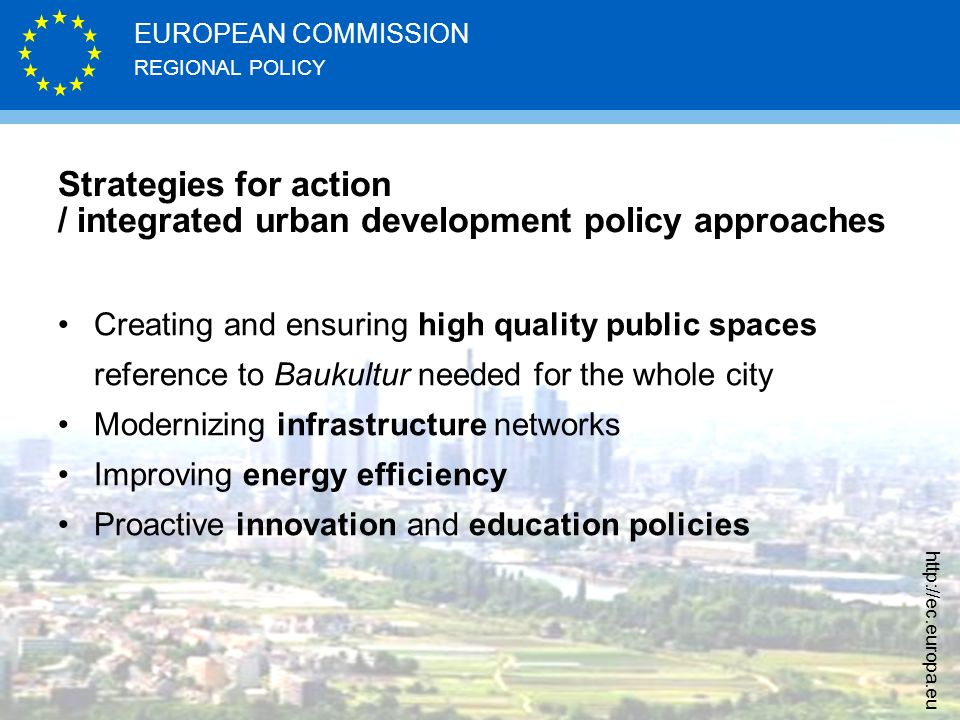 Strategies for action / integrated urban development policy approaches