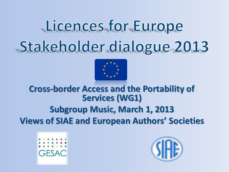 Licences for Europe Stakeholder dialogue 2013