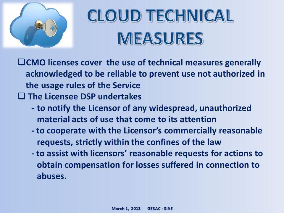 CLOUD TECHNICAL MEASURES