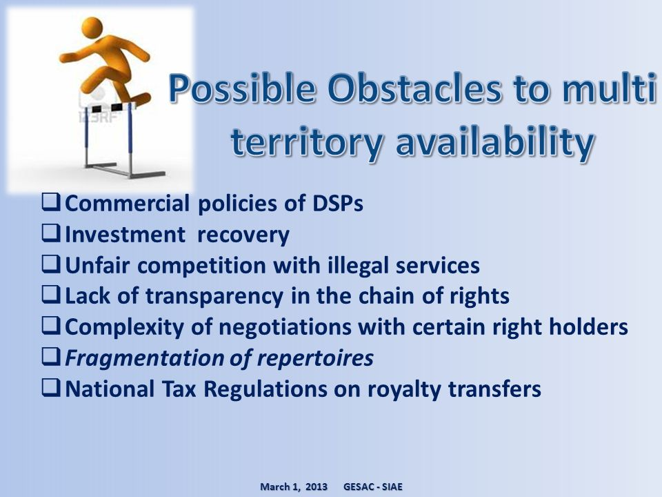 Possible Obstacles to multi territory availability