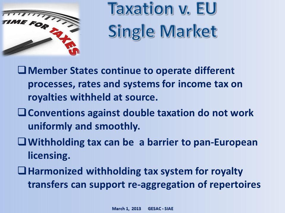 Taxation v. EU Single Market