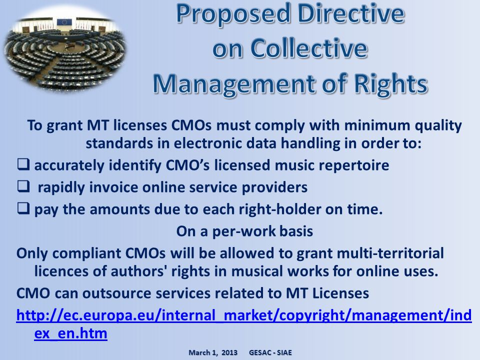 Proposed Directive on Collective Management of Rights
