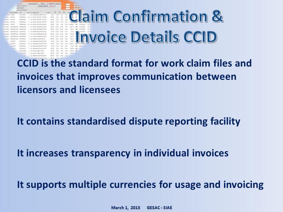 Claim Confirmation & Invoice Details CCID