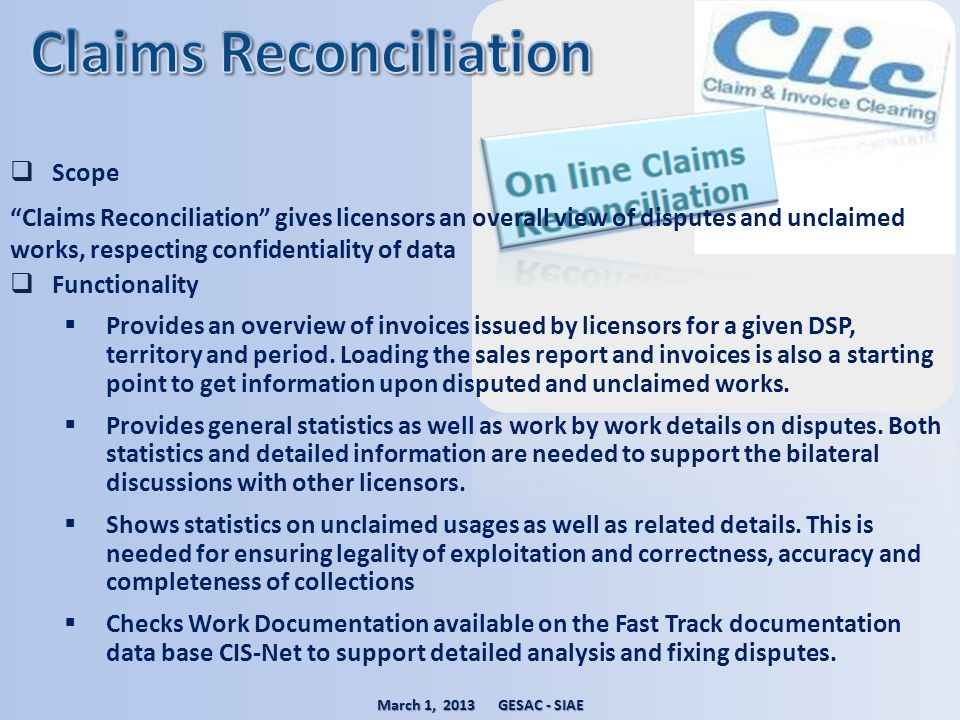 Claims Reconciliation