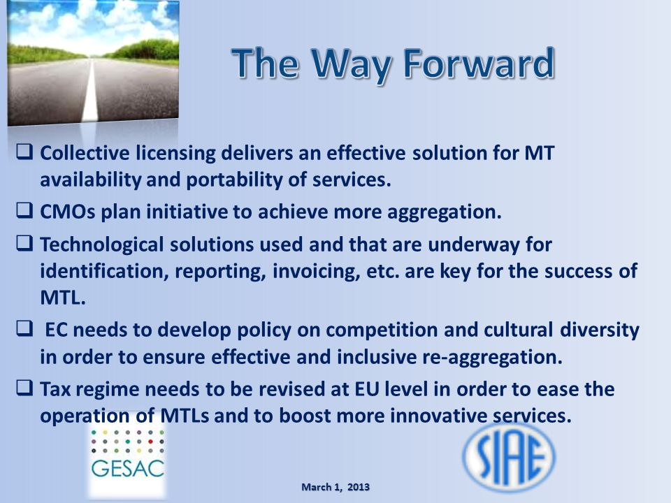 The Way Forward Collective licensing delivers an effective solution for MT availability and portability of services.