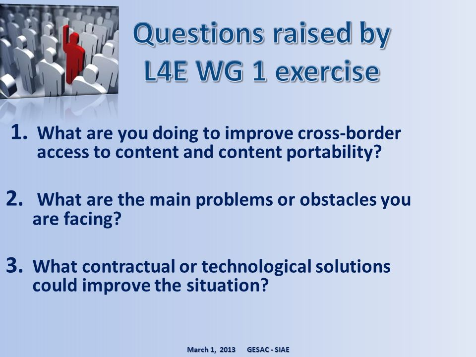 Questions raised by L4E WG 1 exercise