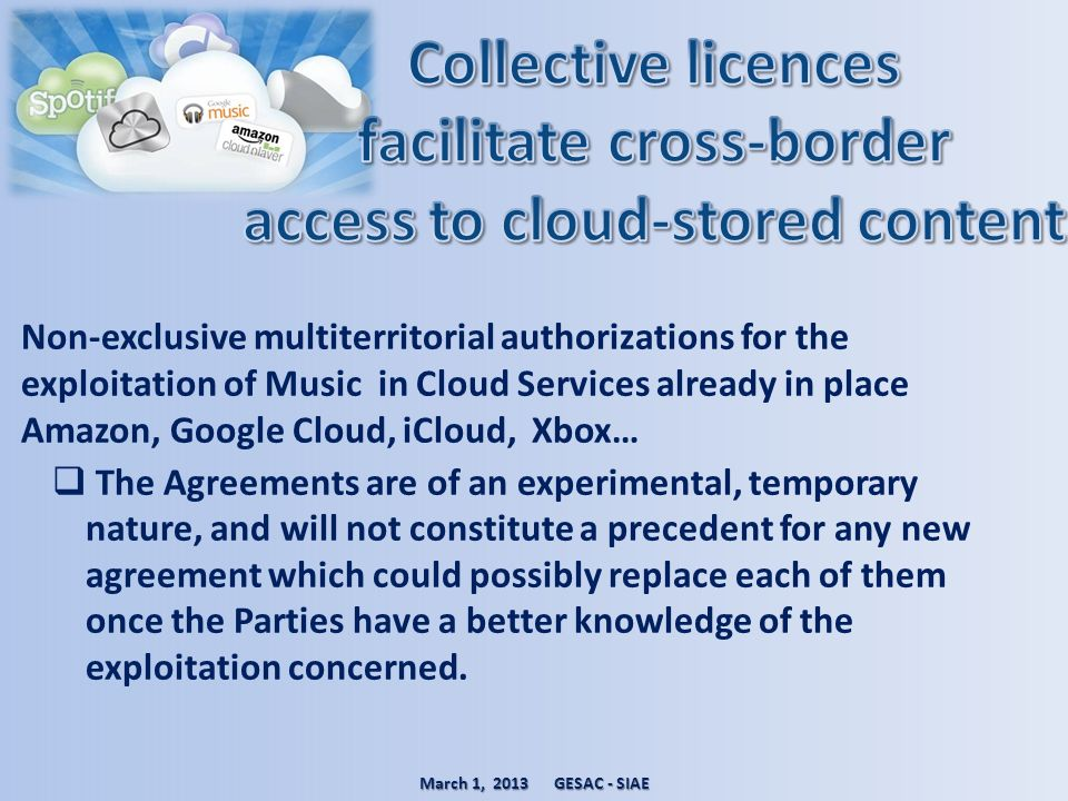 Collective licences facilitate cross-border access to cloud-stored content