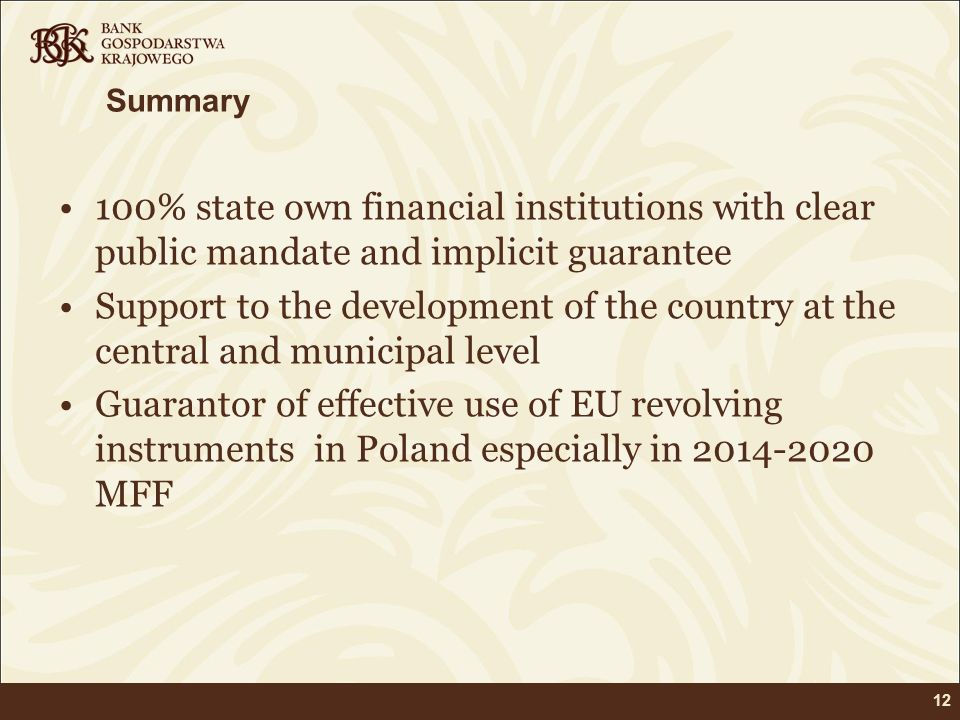 Summary 100% state own financial institutions with clear public mandate and implicit guarantee.
