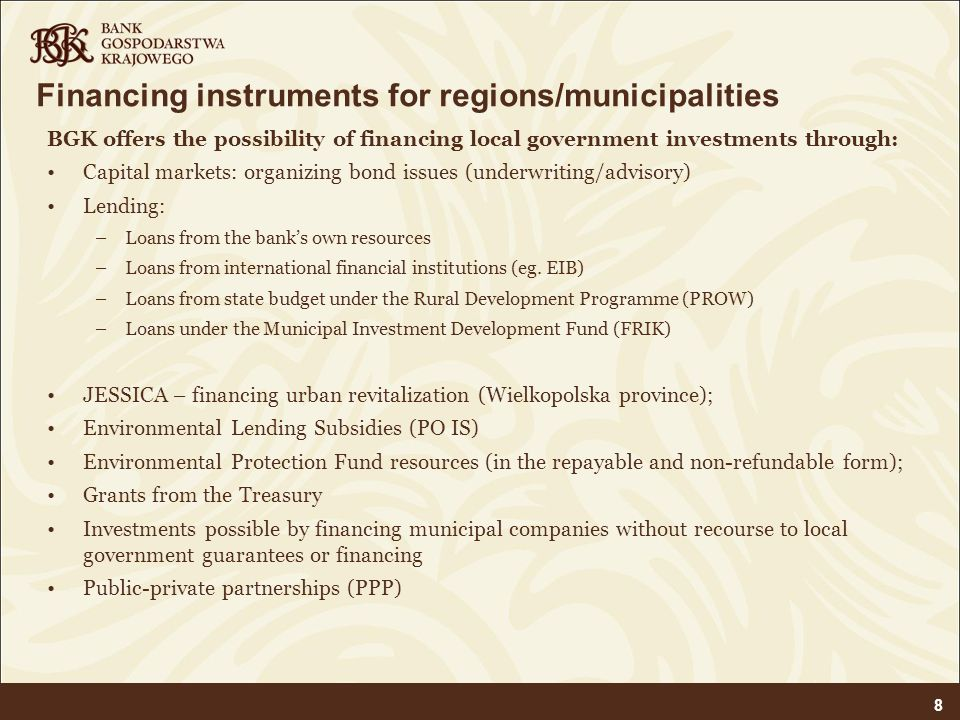 Financing instruments for regions/municipalities