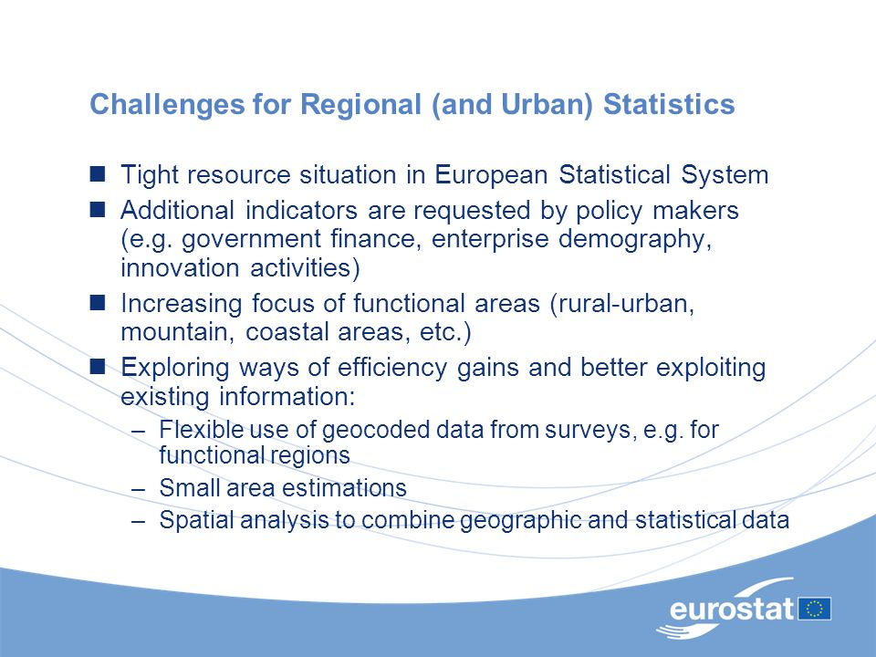 Challenges for Regional (and Urban) Statistics