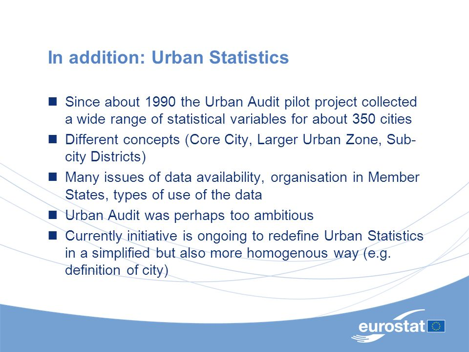 In addition: Urban Statistics