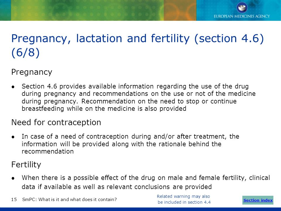Pregnancy, lactation and fertility (section 4.6) (6/8)