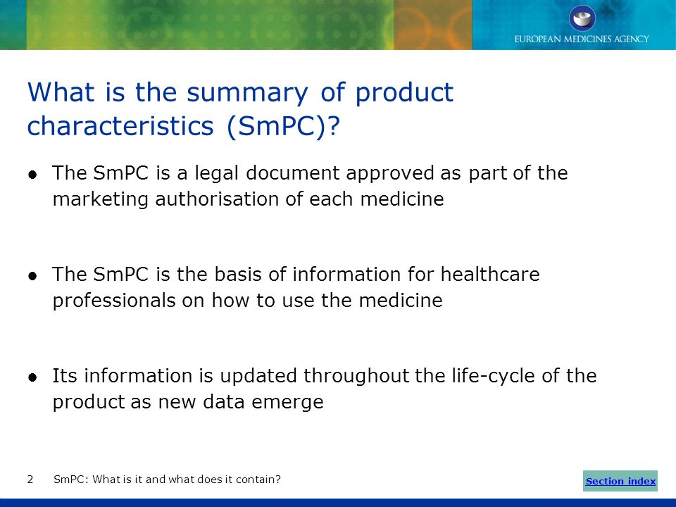 What is the summary of product characteristics (SmPC)