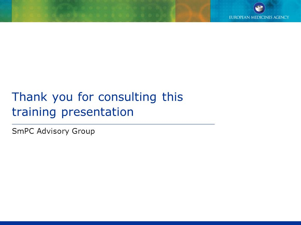 Thank you for consulting this training presentation