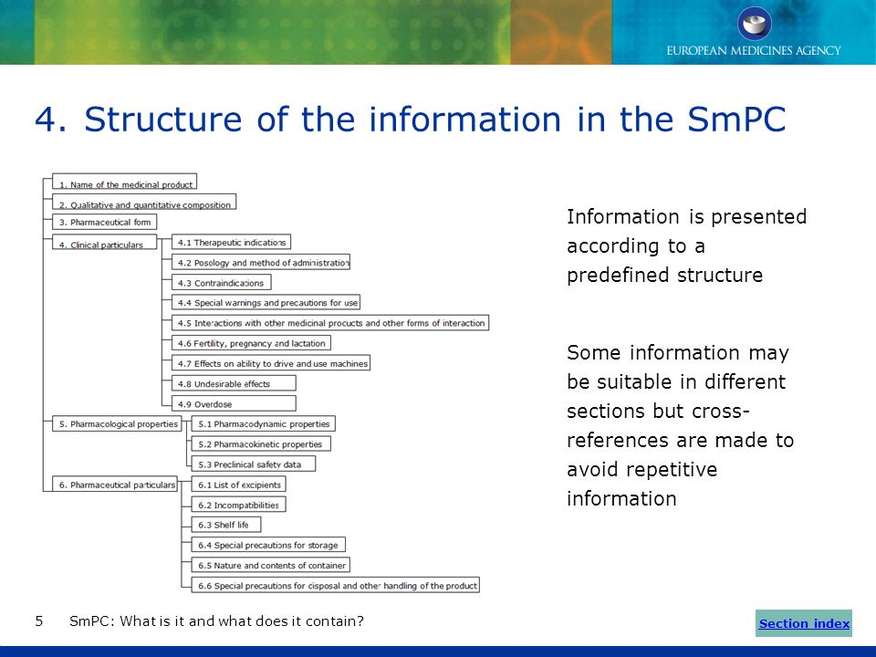 Structure of the information in the SmPC