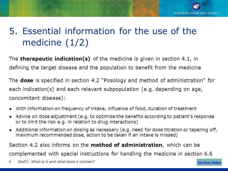 Essential information for the use of the medicine (1/2)