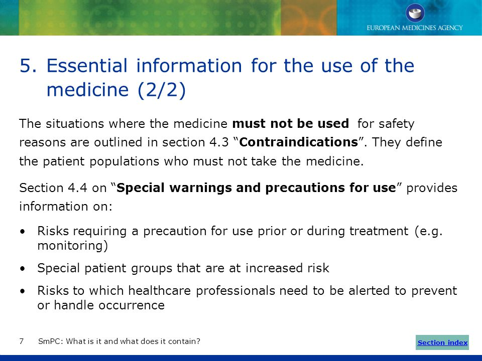 Essential information for the use of the medicine (2/2)