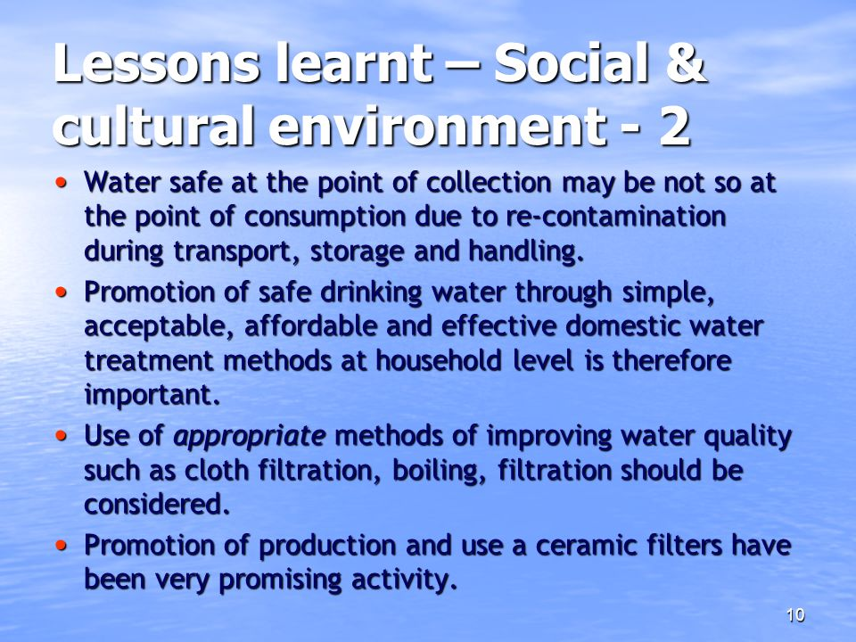 Lessons learnt – Social & cultural environment - 2