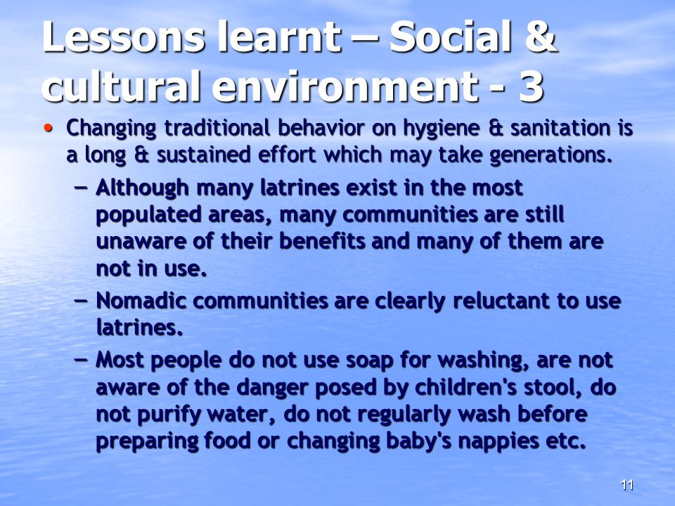 Lessons learnt – Social & cultural environment - 3