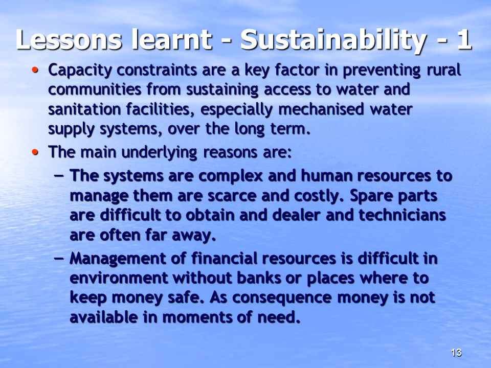 Lessons learnt - Sustainability - 1