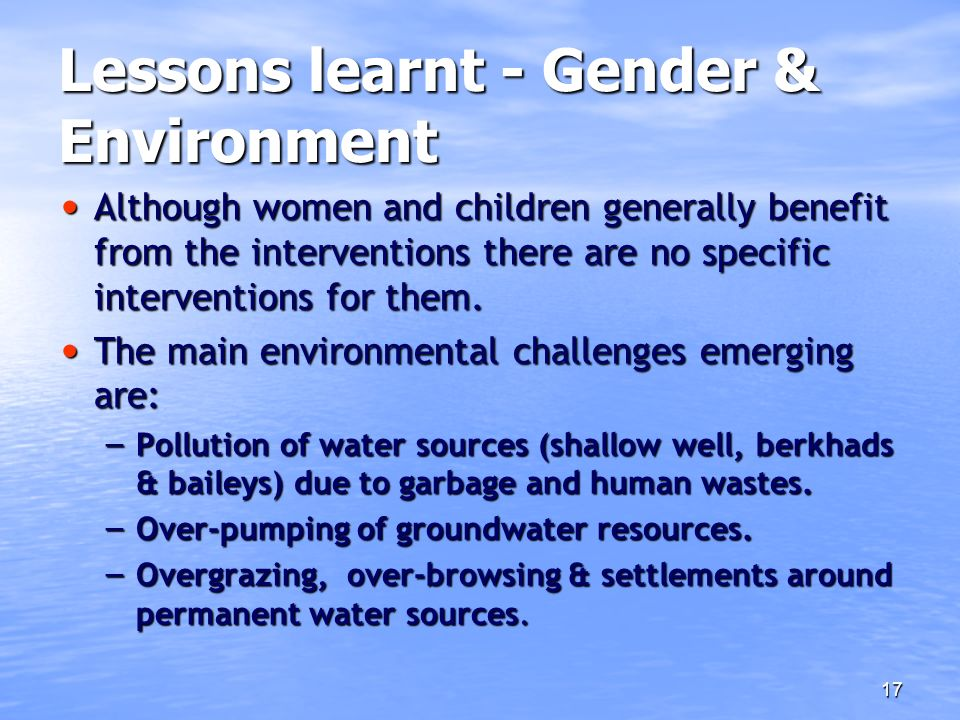Lessons learnt - Gender & Environment