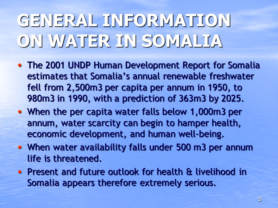 GENERAL INFORMATION ON WATER IN SOMALIA