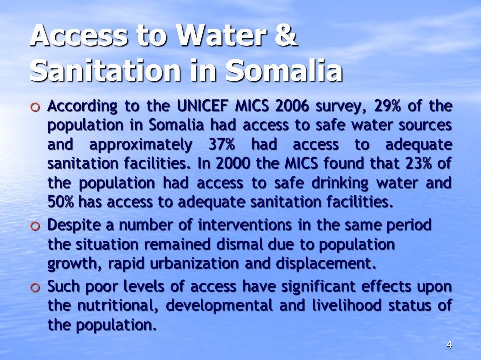 Access to Water & Sanitation in Somalia