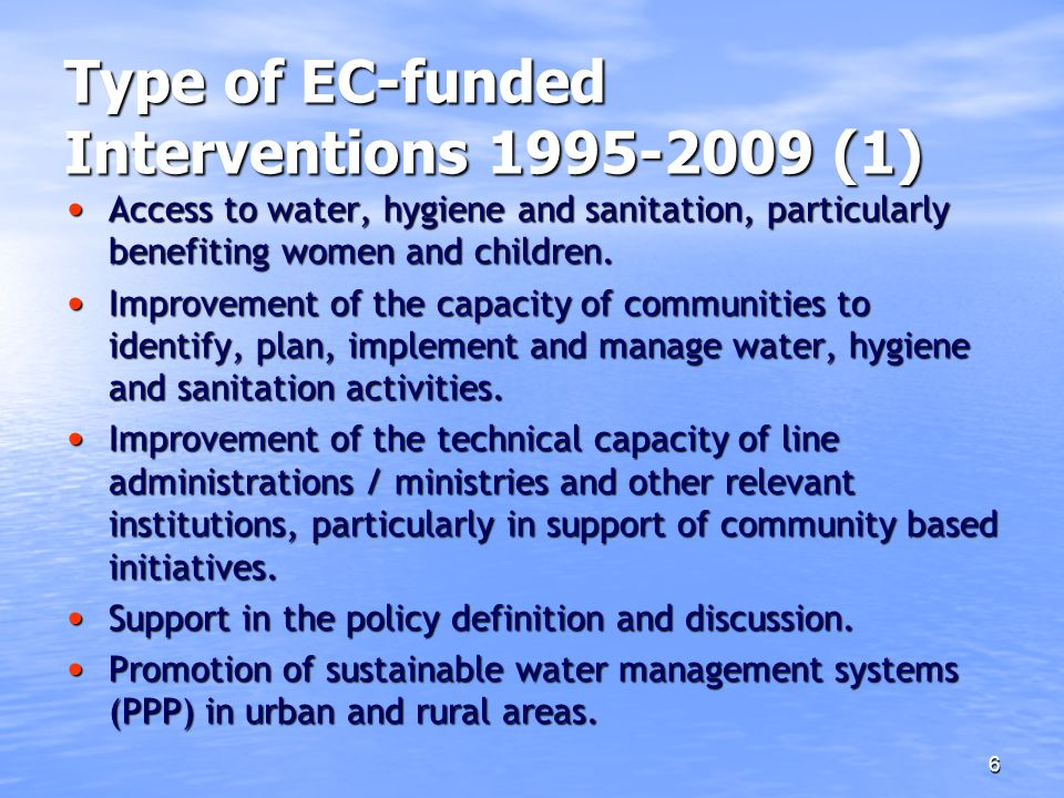 Type of EC-funded Interventions 1995-2009 (1)