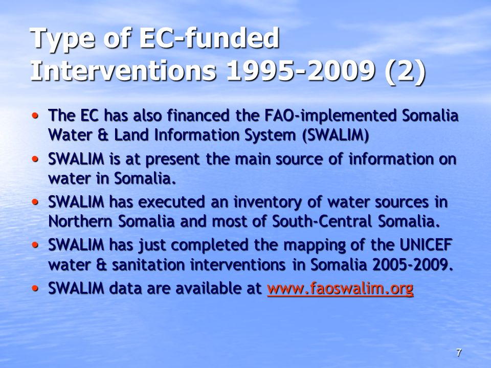 Type of EC-funded Interventions 1995-2009 (2)