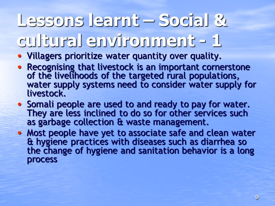 Lessons learnt – Social & cultural environment - 1