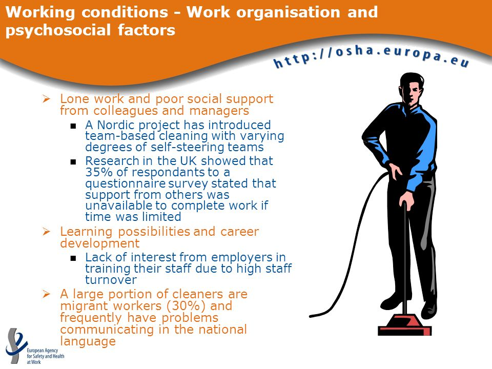 Working conditions - Work organisation and psychosocial factors