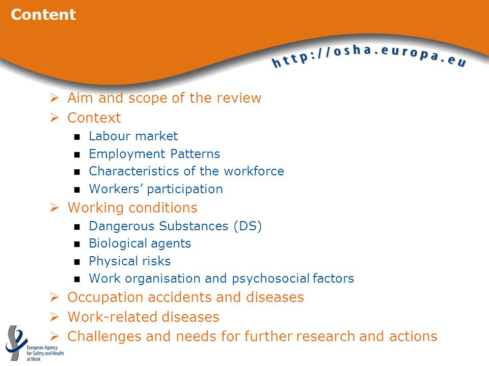 Content Aim and scope of the review Context Working conditions