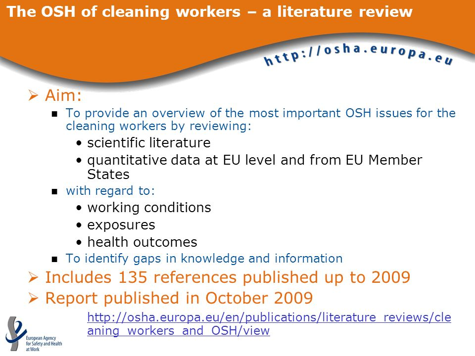 The OSH of cleaning workers – a literature review