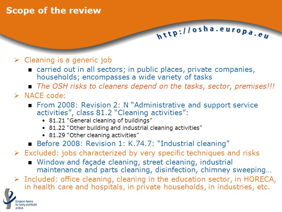 Scope of the review Cleaning is a generic job