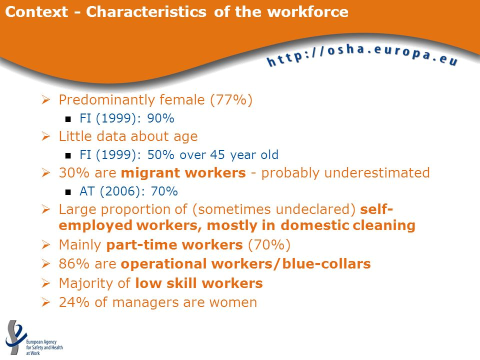 Context - Characteristics of the workforce
