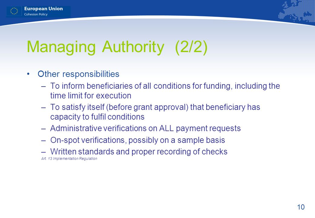 Managing Authority (2/2)