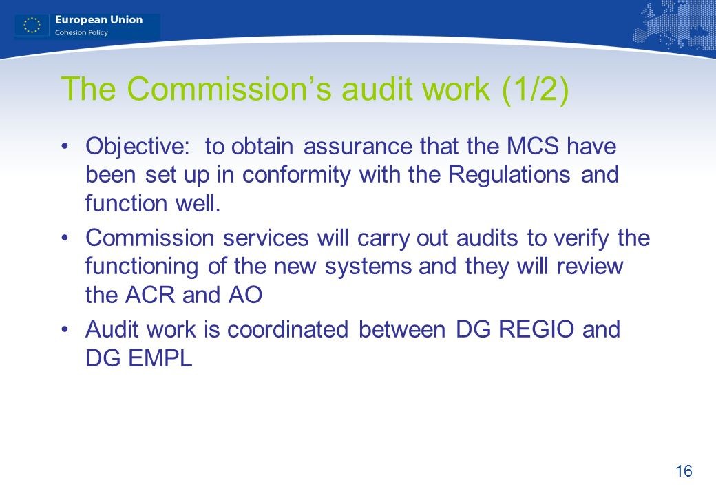 The Commission's audit work (1/2)