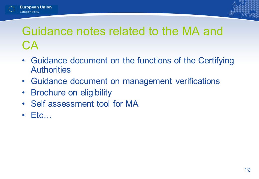 Guidance notes related to the MA and CA