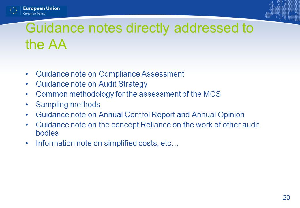 Guidance notes directly addressed to the AA